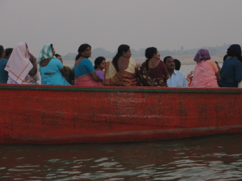 India, Varanasi, Pilgrams on Boat