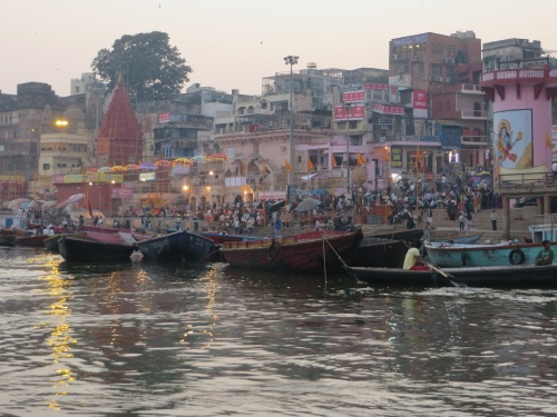 India, Varanasi, The Ganges at Dusk